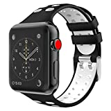 TiMOVO for Apple Watch Band, Soft Silicone Adjustable Replacement Band with Double Buckle for iWatch 42mm series 3/2 / 1, Black & White (Not fit 38mm Versions)
