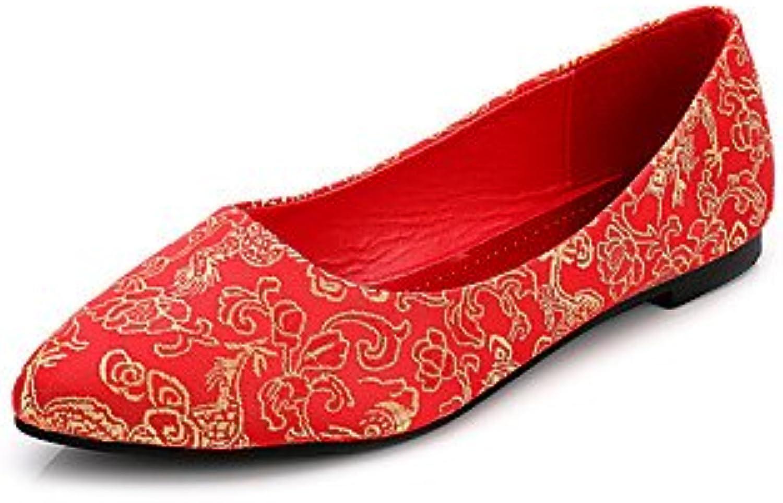Zapatos De Mujer Fabric Fall Recalcó Toe Toe / Cerrado / Flats Flats Boda Talón Plano Otros Rojo Rubí Caminando...
