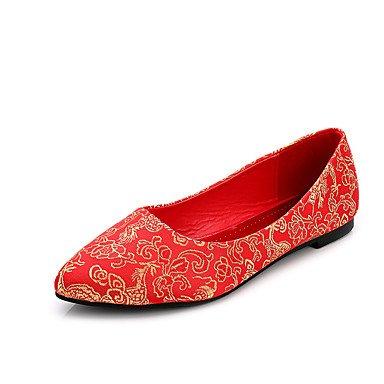 Rtry Femmes Chaussures Tissu Cadono Bout Pointu / Appartements Fermé / Appartements De Mariage Appartements Talon Plat Autres Rouge Rubis Marchant Us6 / Eu36 / Uk4 / Cn36 Us8.5 / Eu39 / Uk6.5 / Cn40