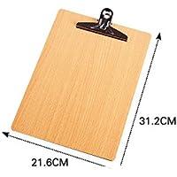 Portapapeles de madera con esquinas redondeadas, con clip y agujero para colgar A4 A4