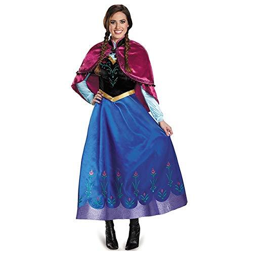 WSCOLL Erwachsene Anna ELSA Kleid Cosplay Kostüm Mädchen Frauen Prinzessin Anna Kleid mit abnehmbarem Mantel Halloween Birthday Party Frozen Queen XXL Kleid nur