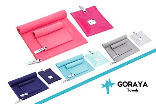 Goraya Mikrofaser Handtuch Set Pink 140x70 cm + 70x40 cm, Sporthandtuch & Reisehandtuch| Ultraleichtes Saunahandtuch| Perfektes Badehandtuch, Strandtuch & Fitnesstuch