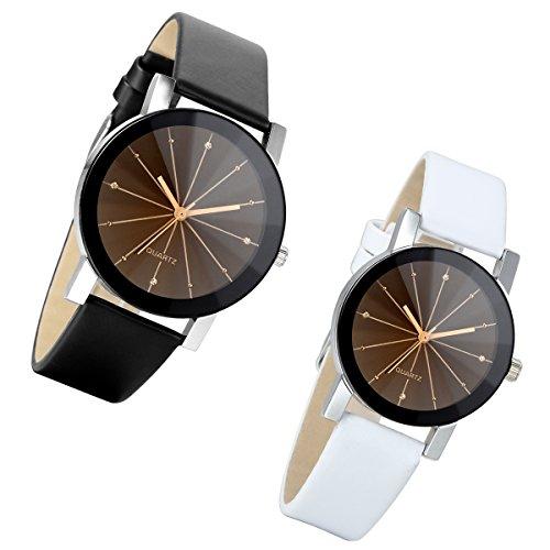 Lancardo 2pcs Herren Damen Freundschafts Armbanduhr, Casual Analog Quarz Zeitloses Design klassisch Uhr für Lieben Valentinstag Paar Paare Geschenk, Leder Armband, weiss schwarz
