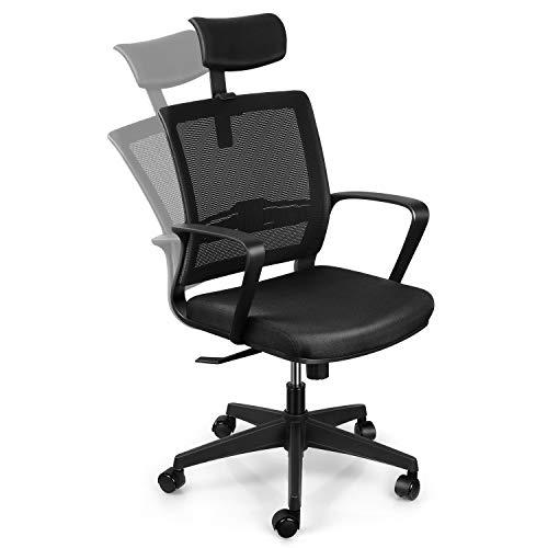 Intey sedia ufficio ergonomica, poltrona ufficio girevole con schienale reclinabile,poggiatesta e altezza del sedile regolabile, portata massima 110 kg