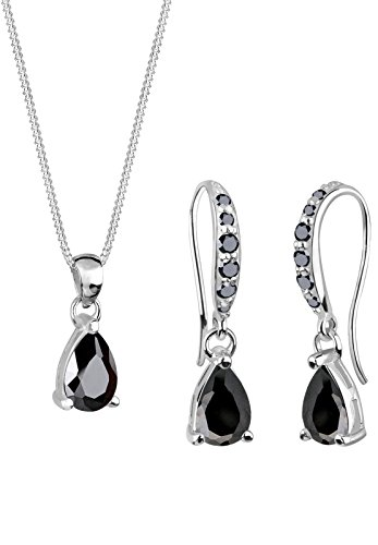 Elli Damen-Halskette + Ohrringe Tropfen 925 Sterling Silber Zirkonia schwarz Tropfenschliff 0906491411_45 -
