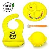 Babylovit BPA-freier Kindergeschirr Set – Mit Rutschfestem Breischale, Löffel, Kinderteller & Baby Lätzchen mit Auffangschale