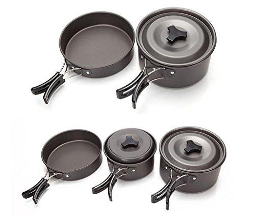 YHKQS-KQS Im Freien Camping Kochen Küche Supplies 2-3 Camping Kochgeschirr Set Griff Faltbare Qualität Antioxidans Aluminium Legierung Textur des Materials