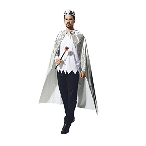 (Zhhlaixing Halloweenkostüm Men's King Cloak Halloween Christmas Cosplay Costume Set with King Scepter Color:Gold/Silver One Size)