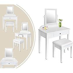 Leogreen - Coiffeuse, Meuble pour Se Maquiller, 1 tiroir, 1 miroir rectangulaire, Blanc, Materiau: Bois de Paulownia, Charge maximale du tabouret: 150 kg