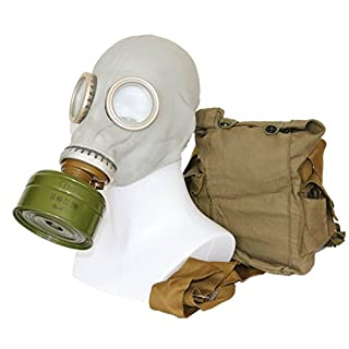 OldShop Soviet Russian Military Gas mask REPLICA Collectable Item Set W/ Mask, Bag, Filter & Bonus Anti-Fog Stickers Included - Authentic Look & Several Color: Grey | Size: S (1Y)
