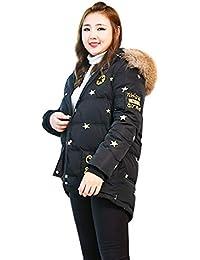 Abrigos Chaqueta de Abajo algodón con Estampado de Estrellas de Gran tamaño  Negro para Damas Gran Cuello de Piel de Invierno Largo y… 1a29179b0d00