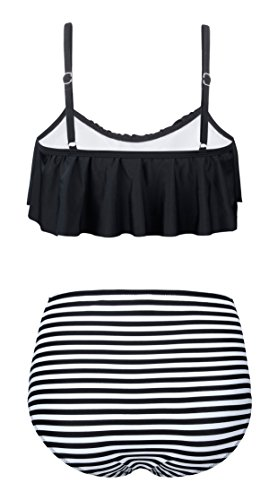 Aixy Damen Vintage Niedlich Ruffles Strap Bademode Crop Top Flounce Bikini Badeanzug Badeanzüge Schwarz