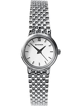 Sekonda Damen Armbanduhr mit weißem Zifferblatt Analog-Anzeige und Silber Edelstahl Armband 4442.2700000000004