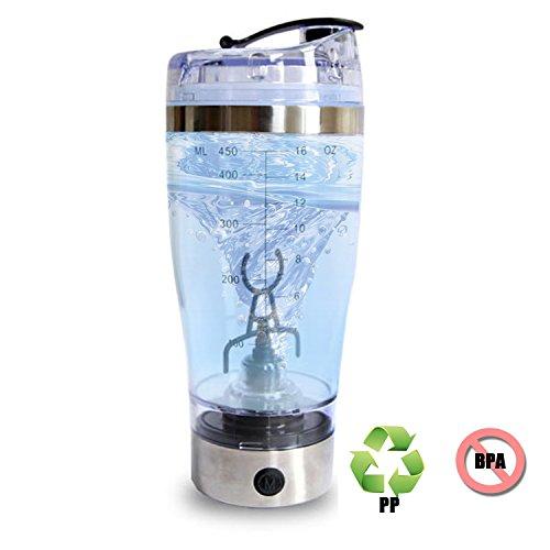 Weideworld Tragbare selbstrührende Tasse für Kaffee Tee Obstsaft Protein Shaker Mehrzweckmischer Tornado Mixer 450ml Rühren Cup(Silber)