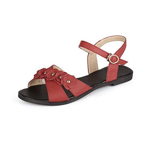 Damen Weiches Material Schnalle Offener Zehe Ohne Absatz Rein Sandalen, Rot, 35 VogueZone009