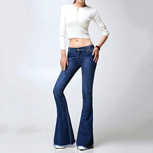Brilliant firm europa e stati uniti pantaloni di jeans lavati pantaloni di moda a scomparsa grandi fondi di campana (color : blue-a, size : xxs-25)