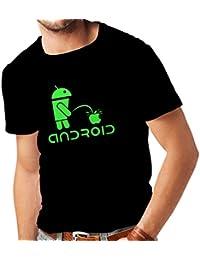 N4247 Männer T-Shirt Funny Robot and apple