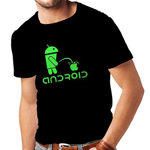 Lustige Roboter und der Apfel - Lustige Zitate, Humorvolle Geschenke (Medium Schwarz Grün) (Personalisierte Halloween-t-shirts)