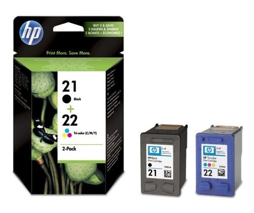 Original HP SD367AE445 / Nr 21 & Nr 22 Tinten-Spar-Set (Schwarz + Color, ca. 360 Seiten) für Deskjet 3910, 3915, 3920, 3940, 3950; Deskjet D 1300, 1311, 1320, 1330, 1341, 1360, 1400, 1420, 1430, 1445, 1450, 1455, 1460, 1520, 1530, 1560, 2320, 2330, 2340, 2345, 2360, 2400, 2430, 2445, 2451, 2460; Fax 1250; Officejet 1410, 4300, 4314, 4315, 4352, 4355, 4359, 4625, 4712; Officejet J 3600, 3606, 3625, 3635, 3640, 3680, 5520; PSC 1400, 1402, 1410, 1415 (1250 Tinte)