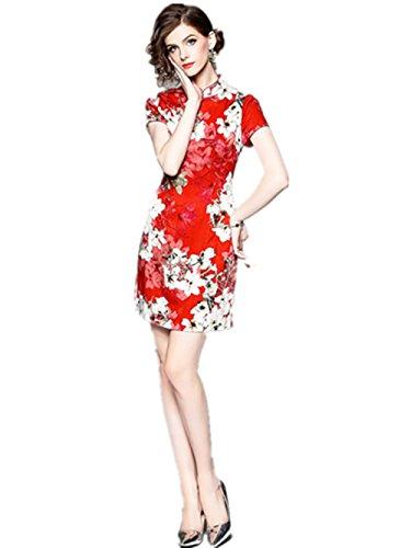 Das Elegante Rote Blatt der Explosiven Temperament-Frauen Drucken Dünnes Kleid-Taille Cheongsam Mode-Kleid,Red,XL