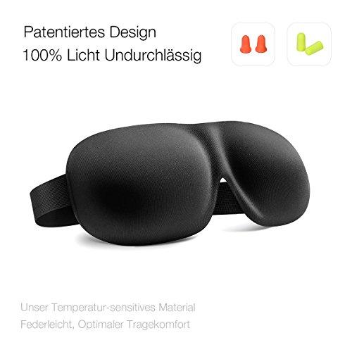 Schlafmaske Augenmaske zum Schlafen, Trilancer 100% Lichtundurchlässig 3D Leicht Lichtdichte Maske mit Klettverschluss-Gummiband, inclusive 2 Paar Ohrstöpsel als Geschenk