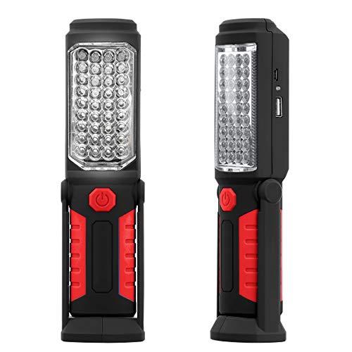 Leyeet COB LED Lampe de travail magnétique de voiture Mécanique Garage Lampe de lampe torche rechargeable (Color : Red)