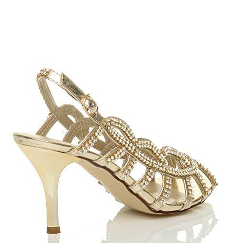 Tiras De De Sandálias De Alto Meados Salto Ouro De Tamanho Senhoras Baile Casamento pZwAdxqp5