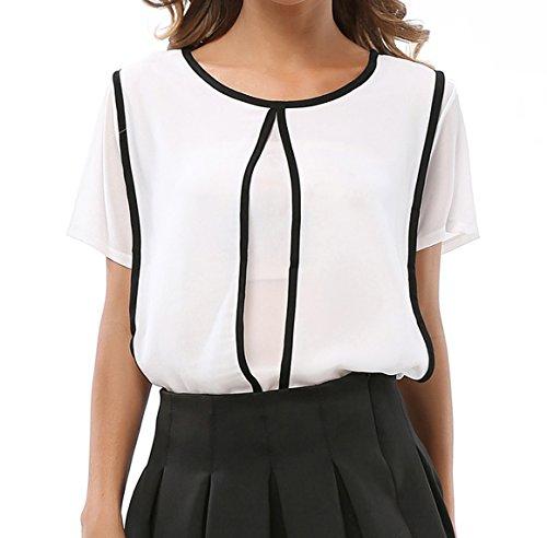 Sommer Oberteile Damen Reizvolle Rundhals Tshirt Kurzärmlig Hemden Chiffon  Top Spleißen Blouse Freizeit Blusen Weiß