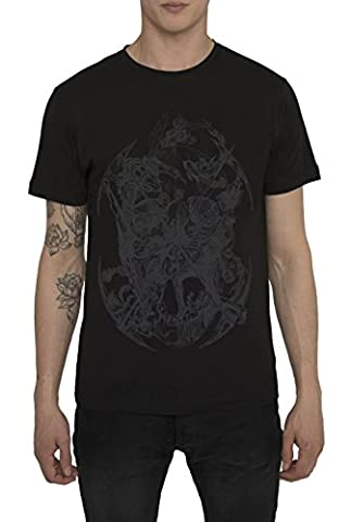 Mens Designer Cool Rock Band - Tattoo Style White Black Grey Print T Shirts SURVIVAL Trendy Urban - Street Fashion Graffiti Design Tee Shirts - 100% Cotton Jersey Crew Neck Tops for Men S M L XL XXL