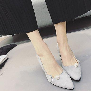 WIKAI Donna Slingback tacchi PU molla Slingback Casual grigio nero 2A-2 3/4in,grigio,US8.5 / EU39 / UK6.5 / CN40 Gray