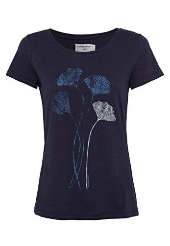 ARMEDANGELS Damen T-Shirt aus Bio-Baumwolle - Mari Ginkgo Leaves - GOTS, ORGANIC, CERES-008 Navy