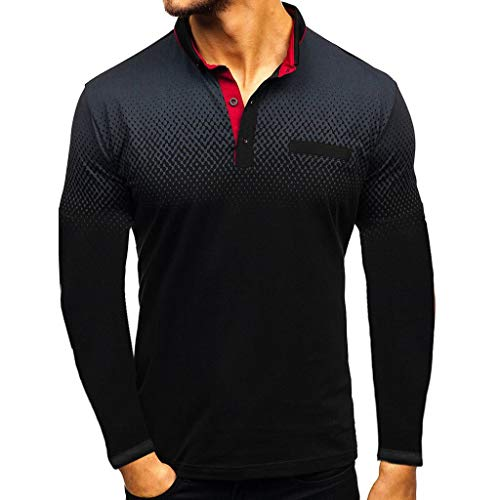 Luckycat Herren Poloshirt Langarm Farbverlauf Patchwork T-Shirt Men\'s Polo Shirt Herren Poloshirt Polo Polohemd Langarmshirt Shirt Basic Herren T-Shirt Shirt Poloshirt Polohemden Knopfleiste Slim Fit
