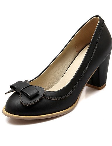 WSS 2016 Chaussures Femme-Mariage / Soirée & Evénement / Habillé / Décontracté-Noir / Bleu / Rose / Blanc-Gros Talon-Talons-Talons-Similicuir black-us9.5-10 / eu41 / uk7.5-8 / cn42