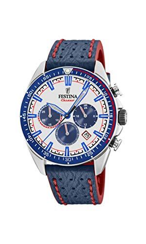 Festina Herren Chronograph Quarz Uhr mit Leder Armband F20377/1