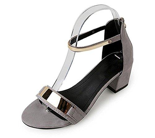 Sommer Sandalen Frauen flache Schuhe rau mit offenem Zehen High Heels Grey