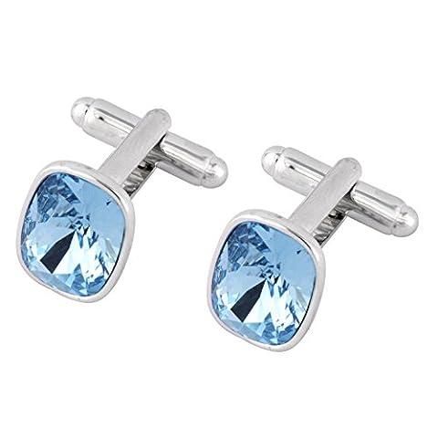 Boutons de manchette avec cristaux Swarovski Aquamarine - cadeau idéal pour les hommes - boîte cadeau de luxe