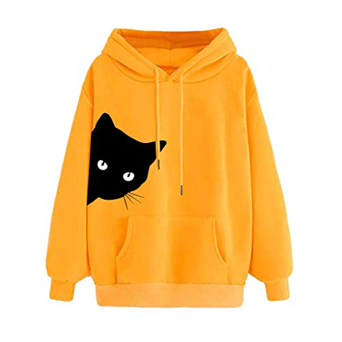 Sweat Femme avec Capuche Hiver Chaud Imprimé Heartbeat Sweat-Shirt Manches Longues Poches Hooded Pullover Casual Tops Youngii(A Jaune,M)
