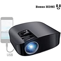 Proyector HD, BeamerKing LED Proyector Video Portátil 3500 Lúmenes Soporte Full HD 1080P USB VGA HDMI AV, Compatible con Smartphones iPhone iPad PS4 Xbox