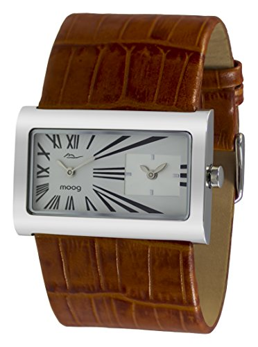 001 Leder (Moog Paris Stars Damen Uhr mit Weißem Zifferblatt, Braunem Armband aus echtem Leder - M41612-001)