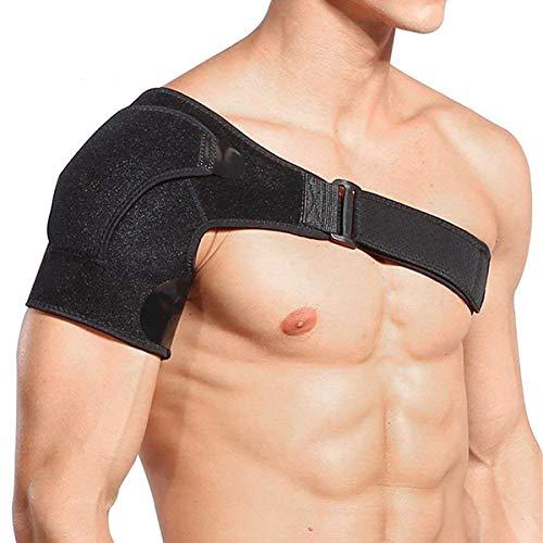 NIGOLS Verstellbare Neopren-Schulterbandage hilft Schulterstabilität, Arthritische Schultern, Schulterversetzung, Unisex, passt sowohl Links als auch rechts Einheitsgröße Schwarz