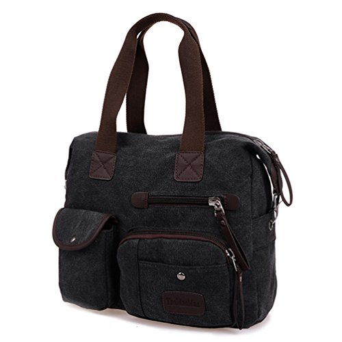 Tiny Chou Unisex, in tela, con cerniera, da donna, Vintage Leisure-Borsa Tote-Borsa a tracolla, borsa da viaggio Nero (nero)