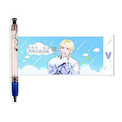 Zhongjiany Kpop BTS - Bolígrafo de punta de bola (0,38 mm), diseño de cabeza de metal, multicolor, color Style03