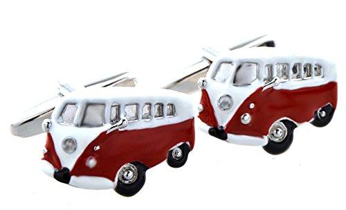 Manschettenknöpfe Bus rot weiss silbern schwarz + Silberbox