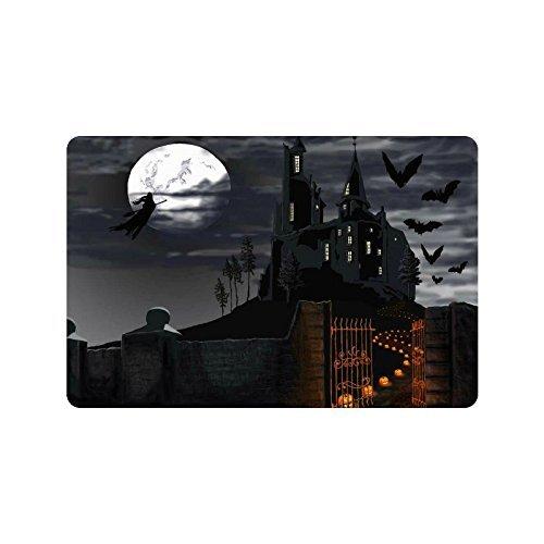 een Kürbis Home Decor, Full Moon Night Haunted Castle Polyester Stoff Vorhang für die Dusche Badezimmer-Sets mit Haken 182,9x 182,9cm, Textil, multi, 23.6 X 15.7 inch (Halloween-dusche Vorhang-set)