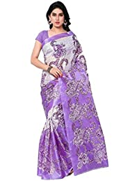 Sarees New Collection Latest Sarees Women's Art Silk Saree (Purple And White) (Saree Centre Sarees For Women Party...