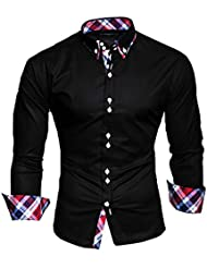 KAYHAN Homme Chemise Slim Fit Repassage facile, Manches Longues Modell - Musterärmel