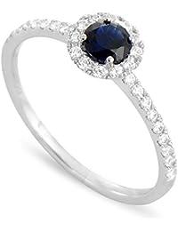 Tous mes bijoux Damen-Ring 18 kt Weißgold Saphir-badm 07091-0001