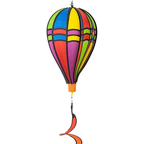 CIM Windspiel - Satorn Balloon Twister - wetterbeständig - Ballon:Ø23cm x 37cm, Holzkorb: 4cm x 3.5cm, Spirale: Ø10 cm x 75cm - inklusive Aufhängung (Twister Retro)