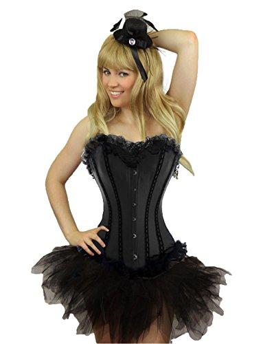 Yummy Bee - Burlesque Korsett mit Tutu Rock Kostüm Damen Größe 34 - 52 ( 36-38, Schwarz) (Halloween Kostüme Mit Korsett)