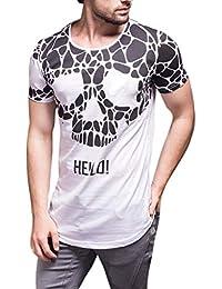 61378d8dd T-Shirt de Verano para Hombres Moda Estampado con Calaveras Personalizadas  Camiseta de Manga Corta Cuello Redondo Slim Fit…